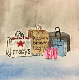 Shopping Trip, Watercolour on Paper