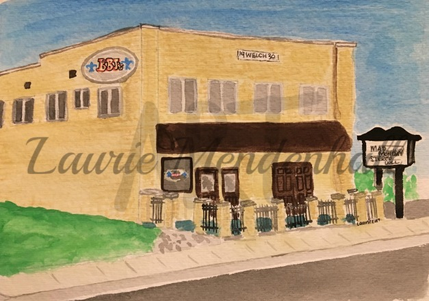 Blue Bourbon Jacks, High Point, NC, Watercolor on paper
