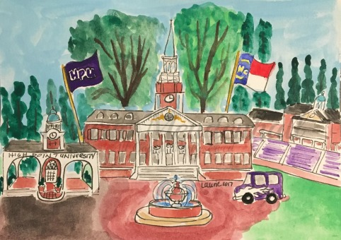 HPU, High Point, NC, Pen and Watercolor on Paper
